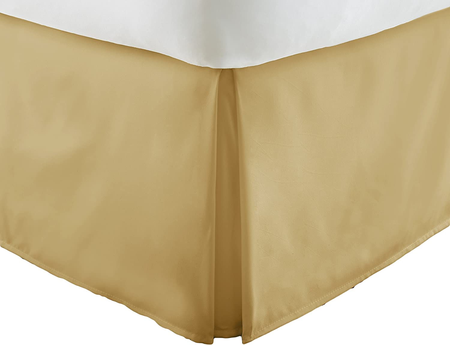 Becky Cameron Bedskirt ienjoy Home Luxury Pleated Dust Ruffle Bed Skirt, Twin XL, Gold, X-Large