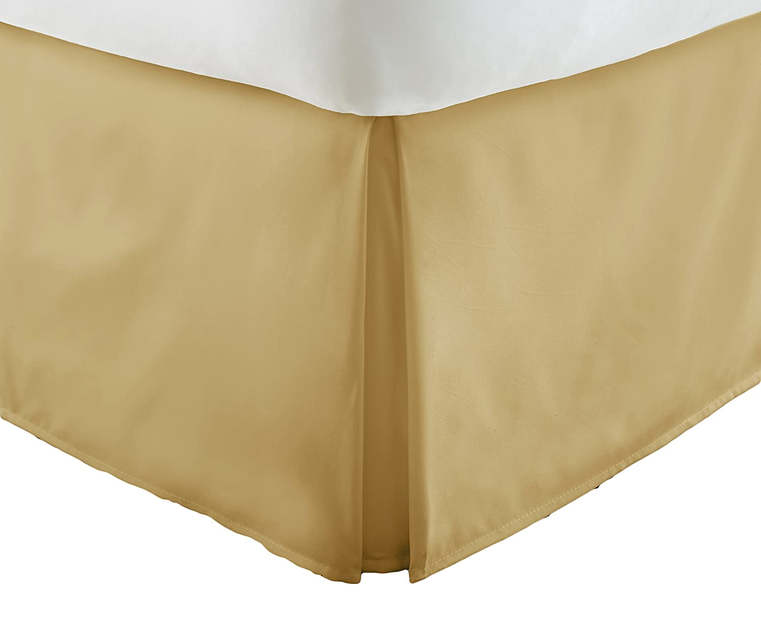 Becky Cameron Bedskirt ienjoy Home Luxury Pleated Dust Ruffle Bed Skirt, King, Gold