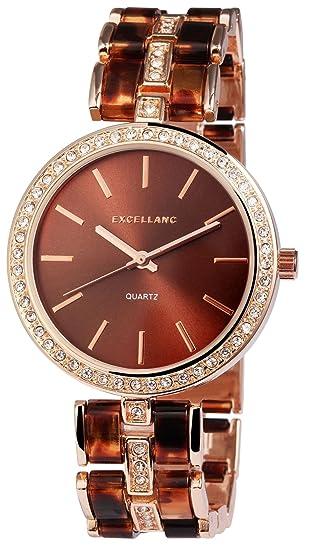 Reloj mujer marrón rosado. Oro Strass metal Reloj de pulsera