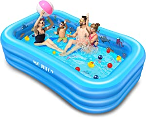Inflatable Swimming Pools, Inflatable Lounge Pool for Kids, Babies, Toddlers, Adults, Outdoor, Garden, Backyard, Side Sea Animal Learning Pattern, 95