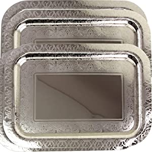 Maro Megastore (Pack of 4) 16.9 Inch x 12.2 Inch Oblong Chrome Plated Mirror Serving Tray Stylish Design Floral Engraved Edge Decorative Party Birthday Wedding Dessert Buffet Wine Platter Plate CC-802