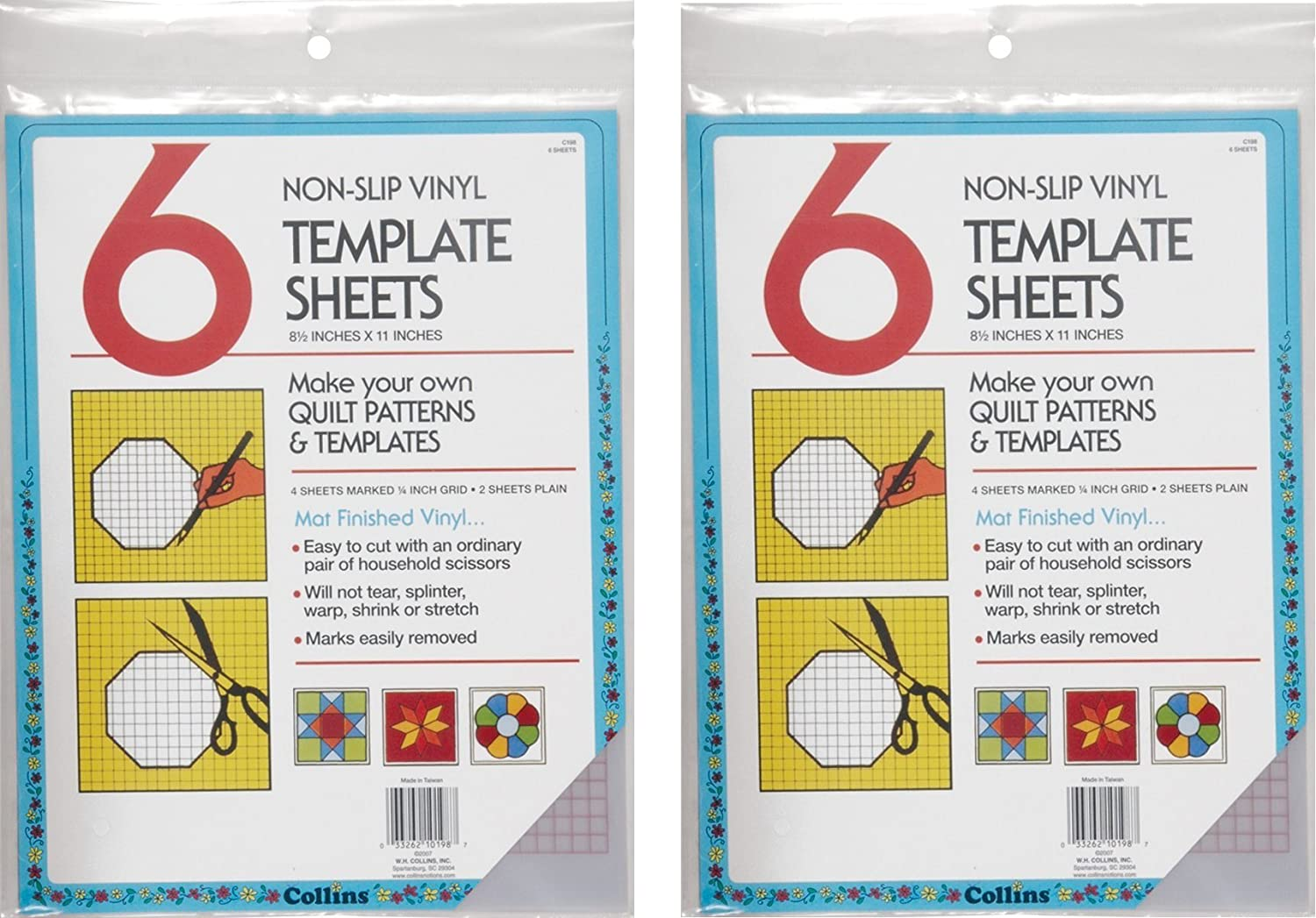 Collins COL198 6 Count Non Slip Vinyl Template Sheet, 8.5 x 11 (2 Pack) 8.5 x 11 (2 Pack)