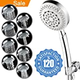 Universal Chrome 8 Function Hand-held Shower Head w/5ft Flexible hose – American Standard ShowerHead with Anti-Clogging Nozzles for High/Low Pressure Rain Massage Spa Water Saving Output