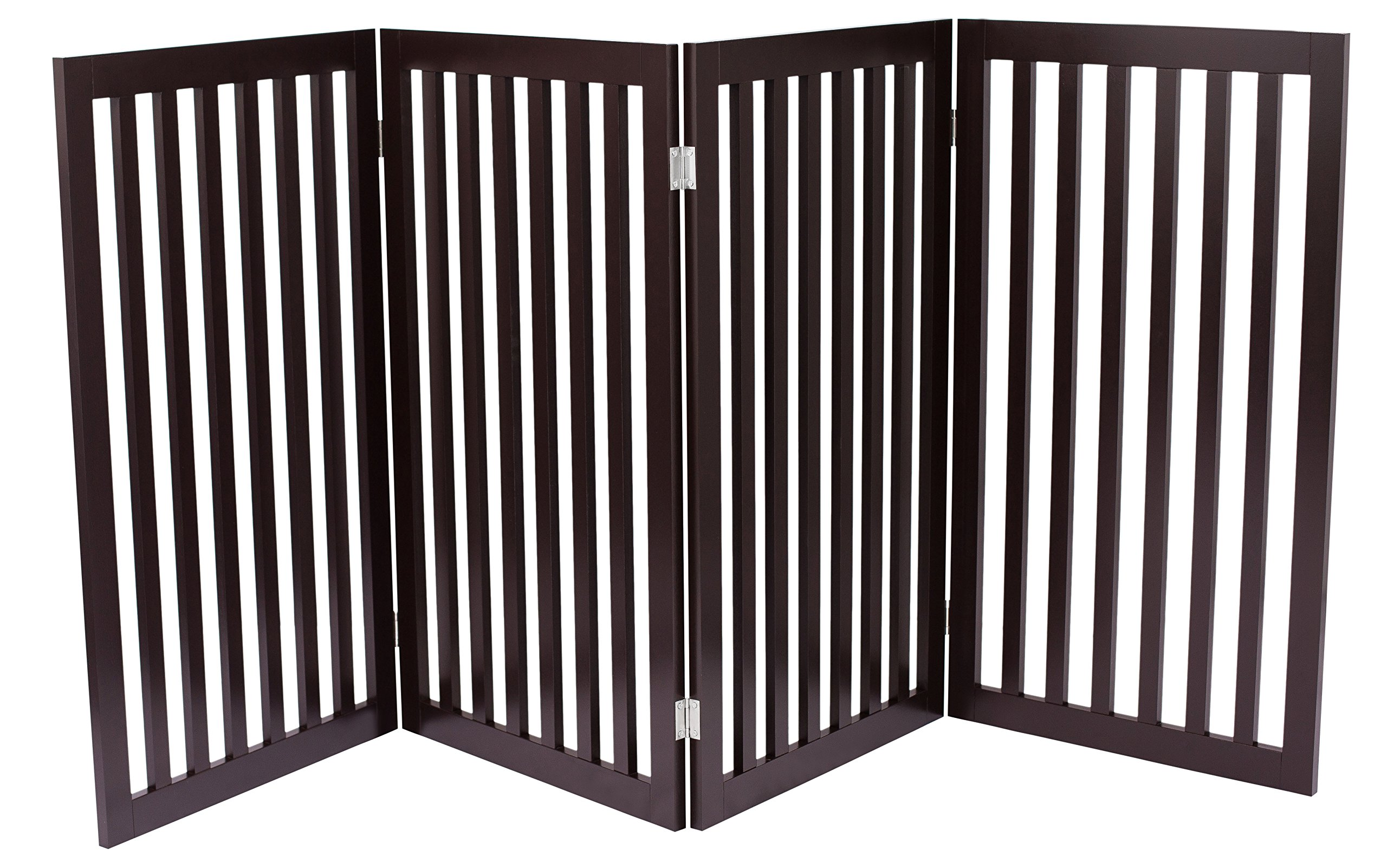 Internet's Best Traditional Pet Gate | 4 Panel | 36 Inch Tall Fence | Free Standing Folding Z Shape Indoor Doorway Hall Stairs Dog Puppy Gate | Fully Assembled | Espresso | Wooden