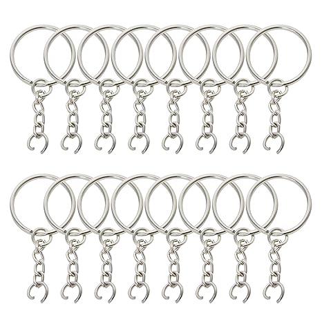 Aspire Llavero dividido con cadena y anillos de saltos 25mm Conector de piezas del llavero Accesorios para bricolaje 100 sets