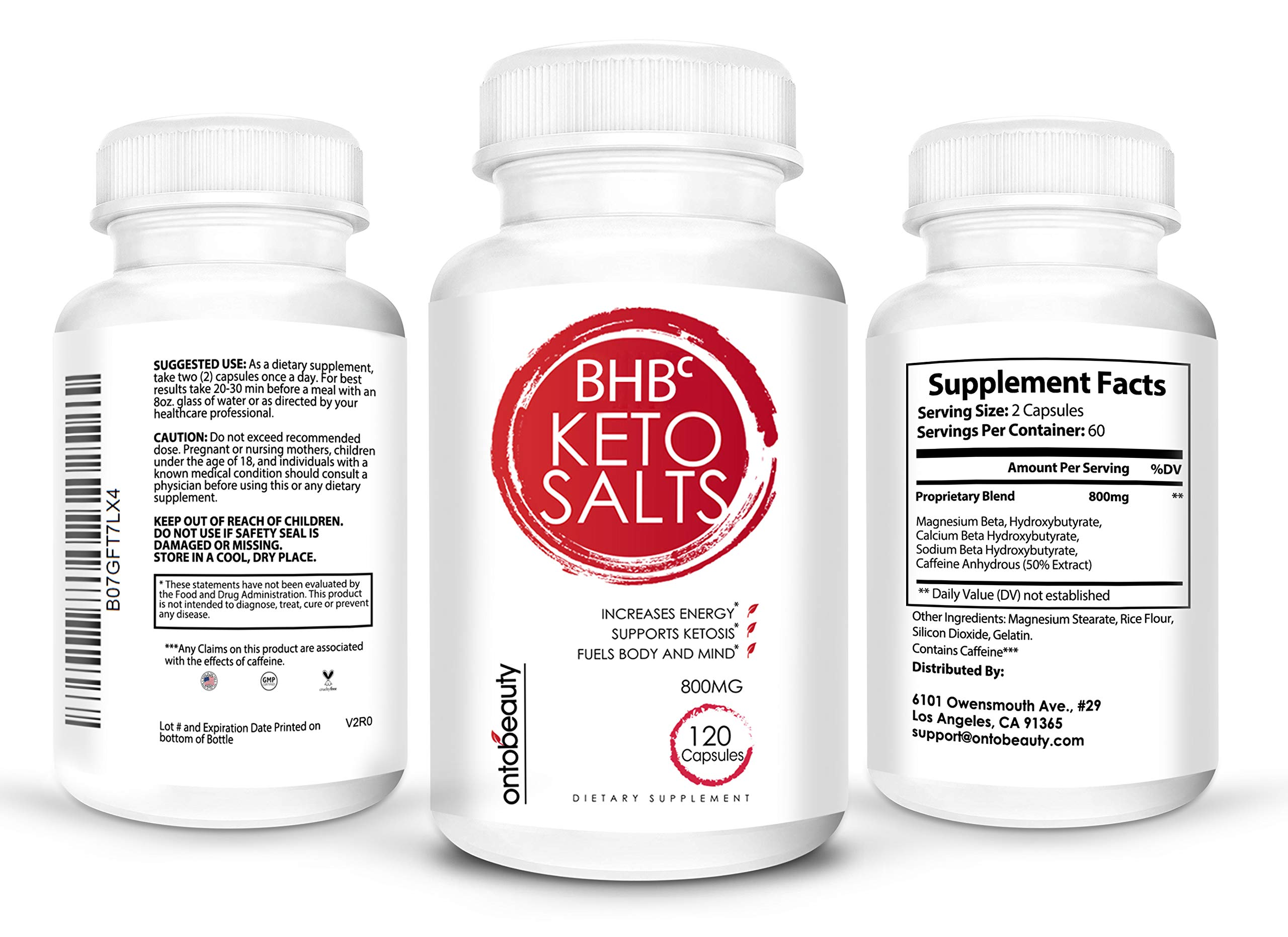 Keto BHB Salts, Exogenous Ketones for Ketosis Support and Weight Loss, Beta-Hydroxybutyrate, Boosts Energy, Improves Focus, Effectively Manages Fat, 120 Capsules, 60 Servings, 2-Month Supply