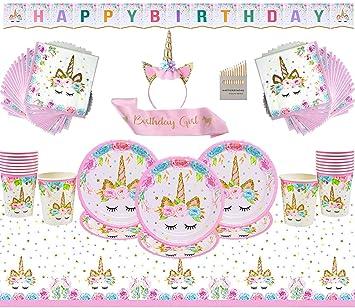 Unicornio Artículos de Fiesta Cumpleaños para niños Fiesta desechable Juego de 52 Piezas Platos Tazas Servilletas Mantel Papel Banner-Servir 16 ...