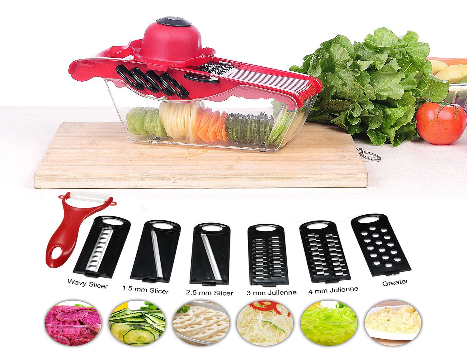 Spiralizer Vegetable Slicer Cutter-6 Interchangeable Blades with Peeler, Prevented slipping, Hand Protector,Storage Container - Cutter for Potato,carrots, Onion, Cucumber,Cheese etc