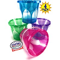 "Matty's Toy Stop Beach Gear 6.5"" Opaque Plastic Sand Buckets (Pails) Blue, Pink, Green & Purple Party Set Bundle - 4 Pack"