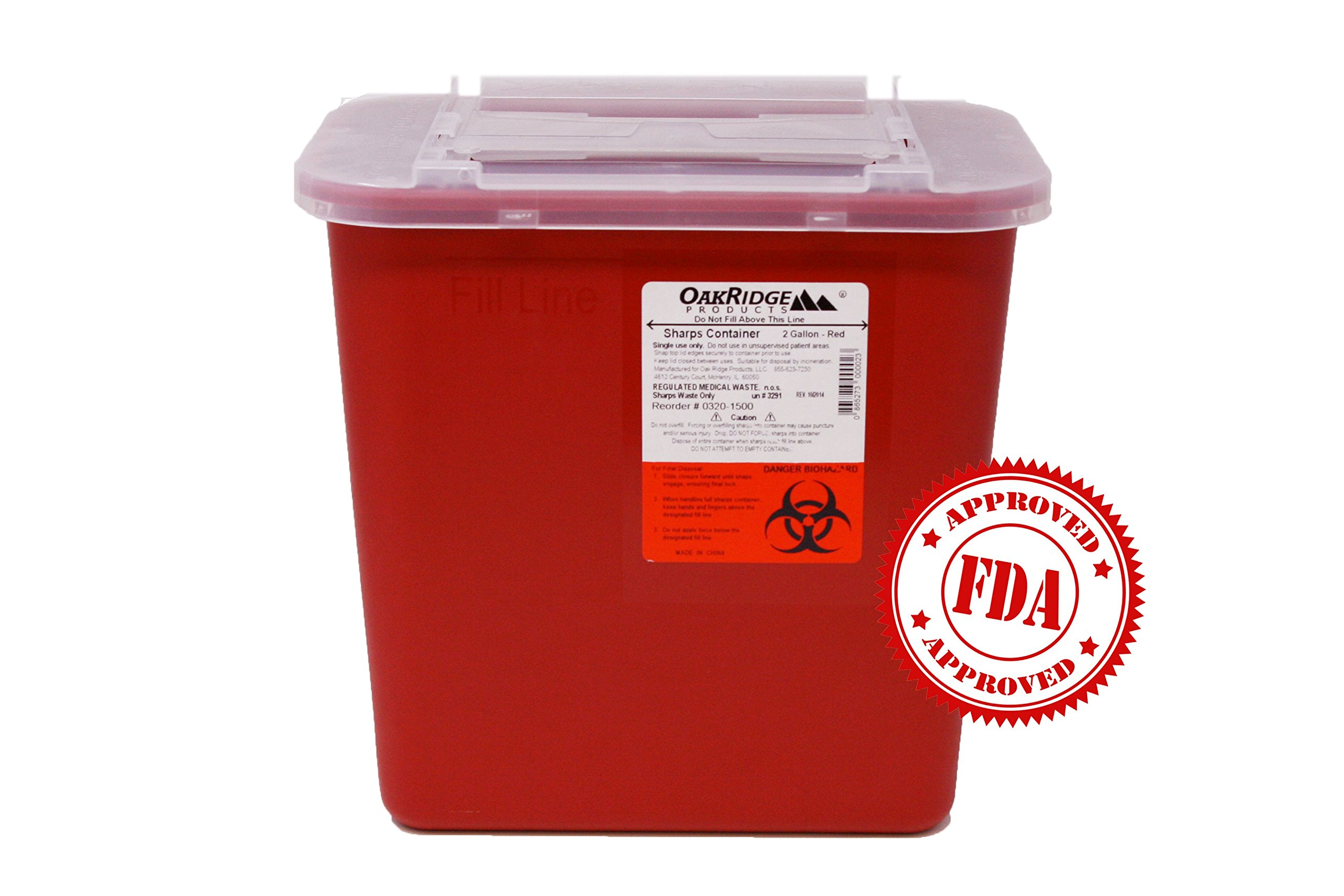 OakRidge Products 2 Gallon Size | Sharps Disposal Container | Holds hundreds of needles