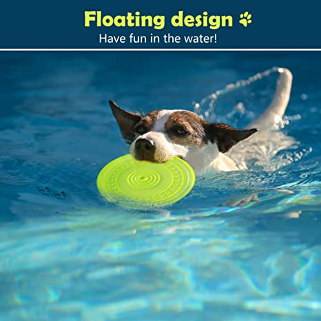 Hardworking person-ZHL 2PCS Dog Flying Disc Toy,Pet Training Rubber Frisbee Interactive Toys,Floating Water Dog Toy For Small Dogs Puppy Outdoor Flight BlueS