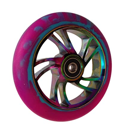 Par de rueda Pro remolino 120 mm - Rainbow beaterio, azul y púrpura mezcla sintética