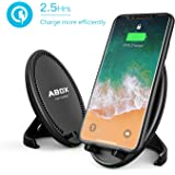 Fast Wireless Charger, ABOX Qi Wireless Charging Pad Stand with Cooling Fan for Samsung Galaxy S8/S8 Plus/S7/S7 Edge/S6 Edge Pluste 5, Standard Charge for iPhone X/8/8 Plus