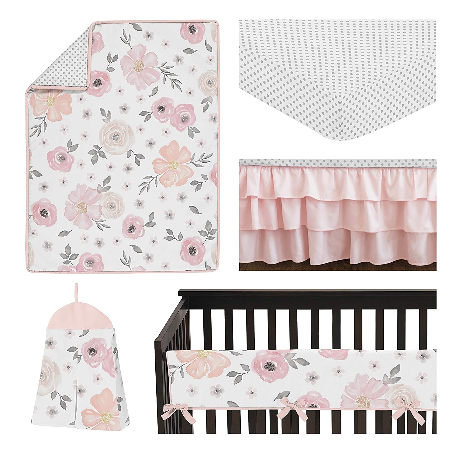 Bedding 5 Pieces Sweet Jojo Designs Pink And Grey Watercolor Floral Baby Girl Nursery Crib Set Blush Gray White Shabby Chic Rose Flower Polka Dot