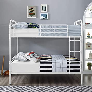 WE Furniture AZTOTMPGW Bunk Bed, Twin, White/Grey Wash