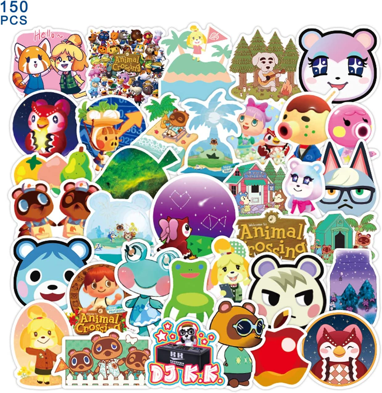 ACNH Stickers 50 PCs Animal Vinyl Waterproof Stickers Crossing Pack for Teens Adults on Water Bottle