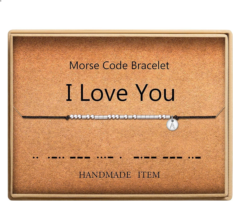 Ruby beads bracelet Sterling silver Morse code bracelet Rose Gold July birthstone 30th birthday gift for her Custom Name Initials BFF SISTER