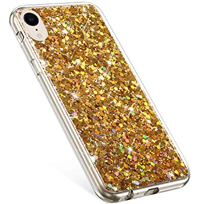 Compatible with iPhone XR Case,PHEZEN Girls Women Bling Shiny Glitter Sparkle TPU Case Flexible Rubber Silicone Case Full Body Protective Phone Case Cover for iPhone XR, Gold