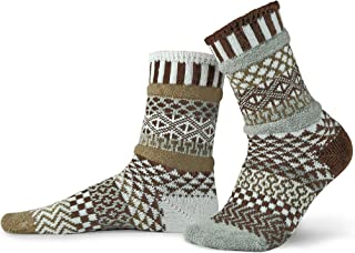 product image for Solmate Socks - Mismatched Crew Socks; Made in USA; Pine Cone Large