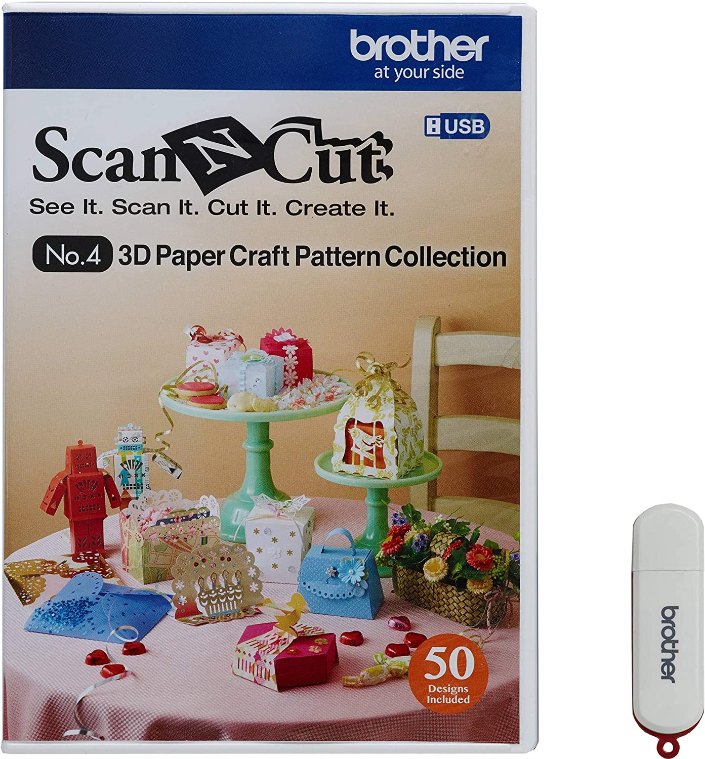 Brother ScanNCut CAUSB4 No. 4 3D Paper Craft Pattern Collection (USB Stick): Amazon.es: Hogar