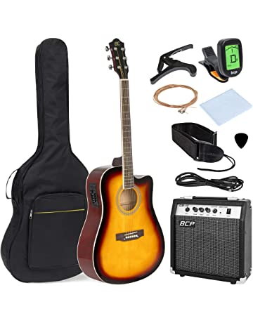 Best Choice Products 41in Full Size All-Wood Acoustic Electric Cutaway Guitar Musical Instrument Set
