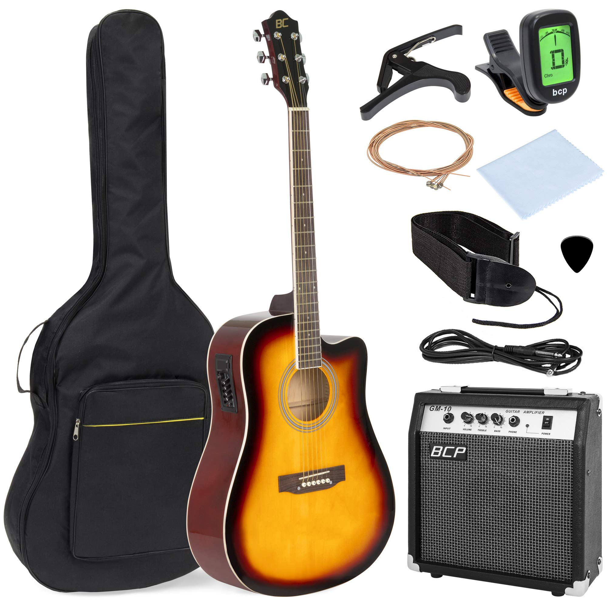 Best Choice Products 41in Full Size Acoustic Electric Cutaway Guitar Set w/ 10-Watt Amplifier, Capo, E-Tuner, Gig Bag, Strap, Picks (Sunburst) by Best Choice Products