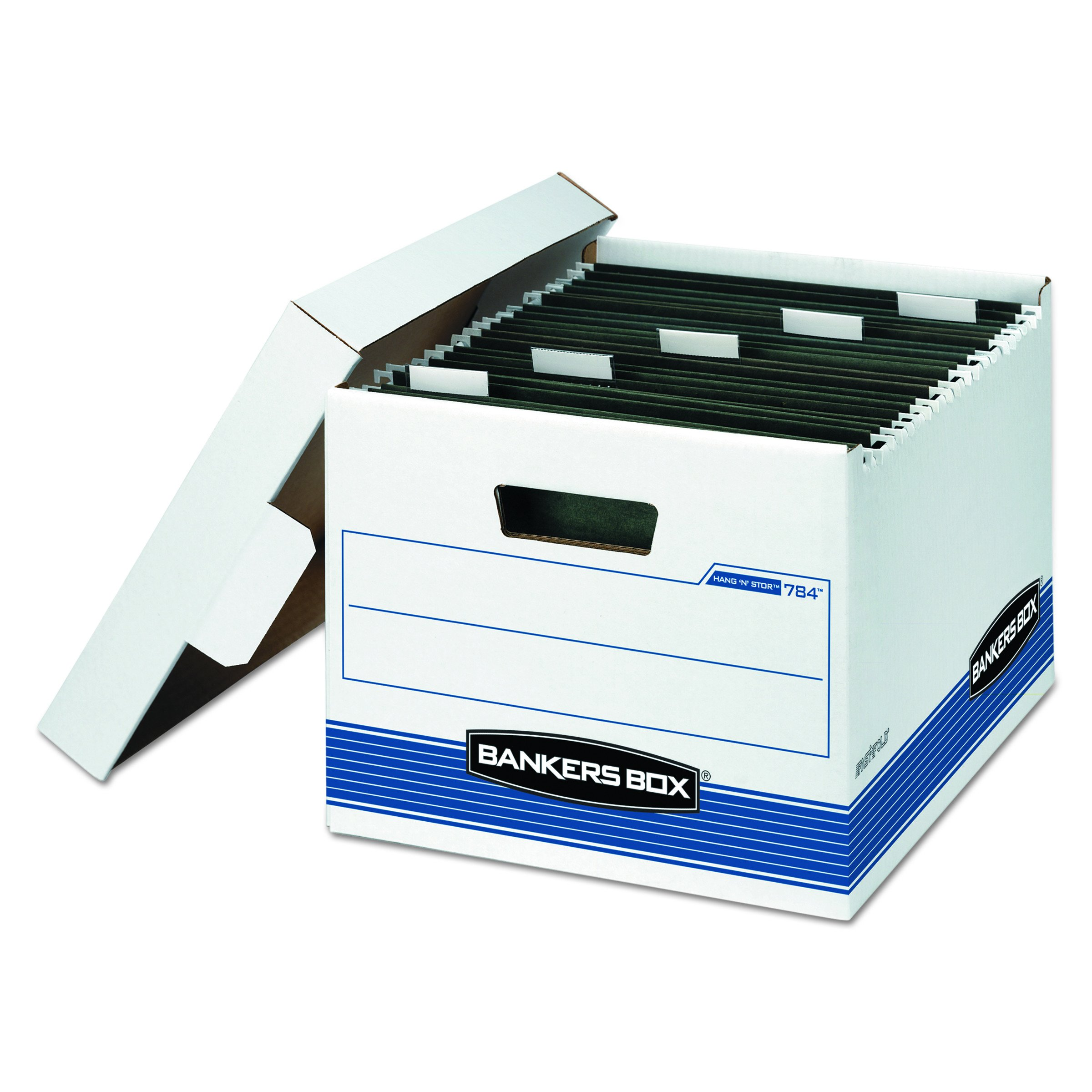 Bankers Box 00784 HANG'N'STOR Storage Box, Letter, Lift-off Lid, White/Blue (Case of 4)