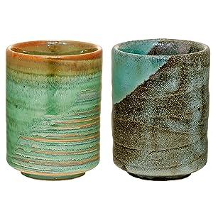 Japanese tea cup, MINOYAKI, Aoshino, Chisuji, Yunomi (Set of 2)