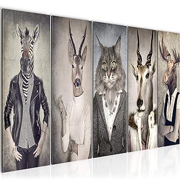 Bilder Tiere Hirsch Abstrakt Wandbild 150 x 60 cm Vlies - Leinwand Bild XXL  Format Wandbilder Wohnzimmer Wohnung Deko Kunstdrucke Braun 5 Teilig - ...