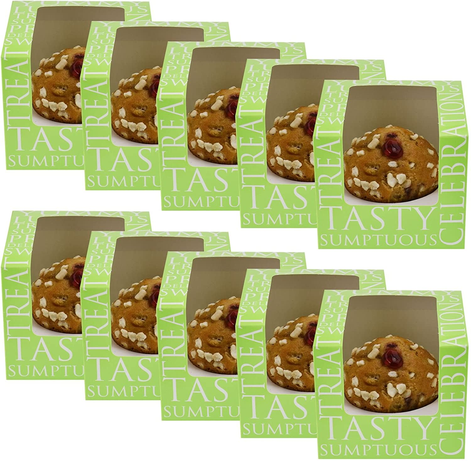 Professional Cupcake Display//Packaging Boxes Clear Acetate Windows Removable Single Cake Holder Inserts Flat Packed Easy Assembly Green 2 Pack