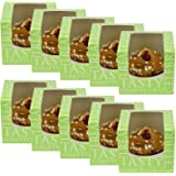 Professional Cupcake Display/Packaging Boxes Clear Acetate Windows Removable Single Cake Holder Inserts Flat Packed Easy Assembly Green 10 Pack