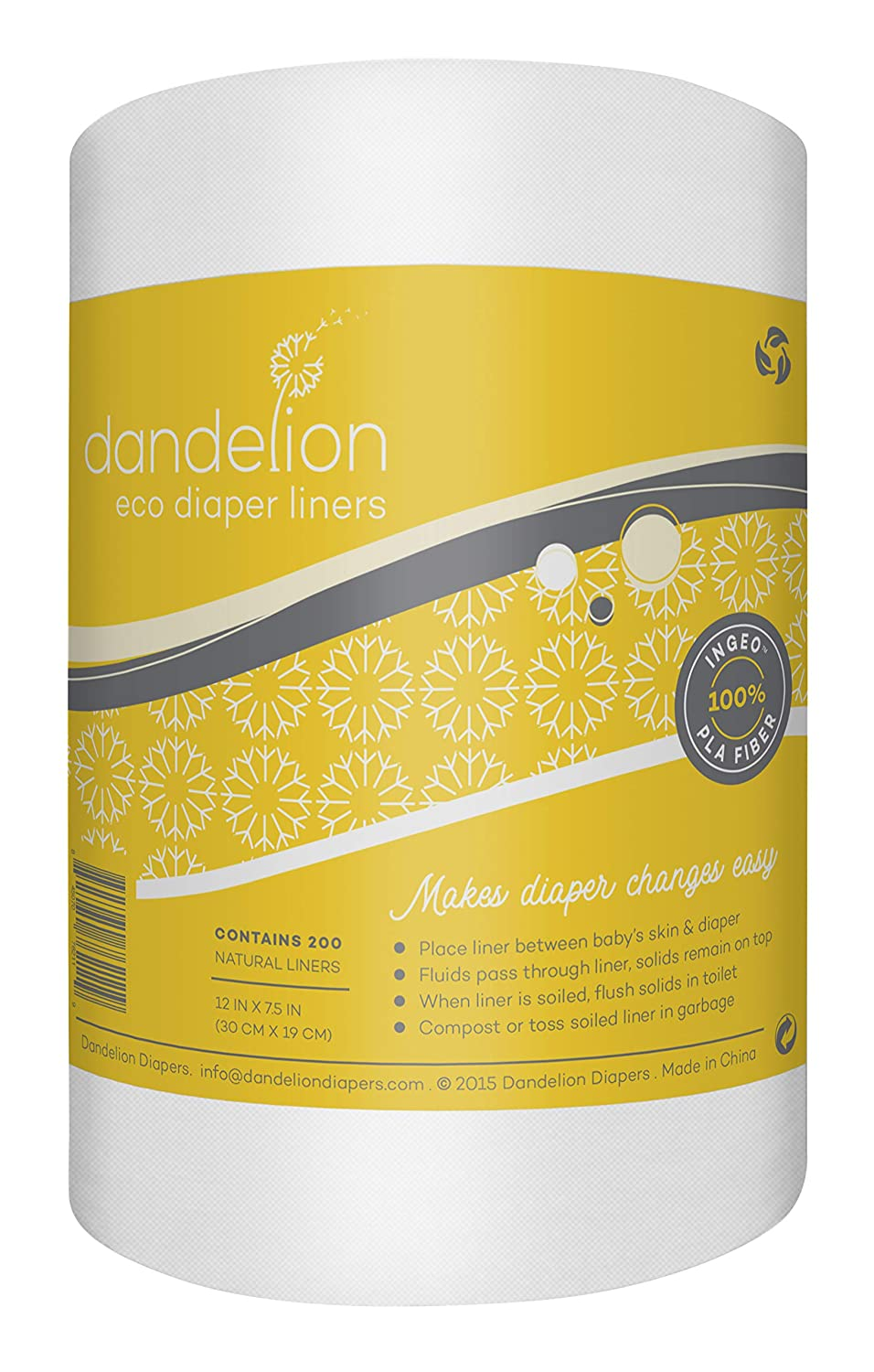 Dandelion Diapers 100/% Bamboo Diaper Liner Inserts Chlorine-Free and Dye-Free 100 Sheets Box Biodegradable Unscented Gentle and Soft for Baby Skin