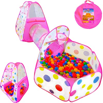 Playz 3pc Kids Play Tent Crawl Tunnel and Ball Pit Pop Up Playhouse Tent with Basketball Hoop for Girls, Boys, Babies, and Toddlers for Indoor and Outdoor Use with Pink Carrying Case: Toys & Games
