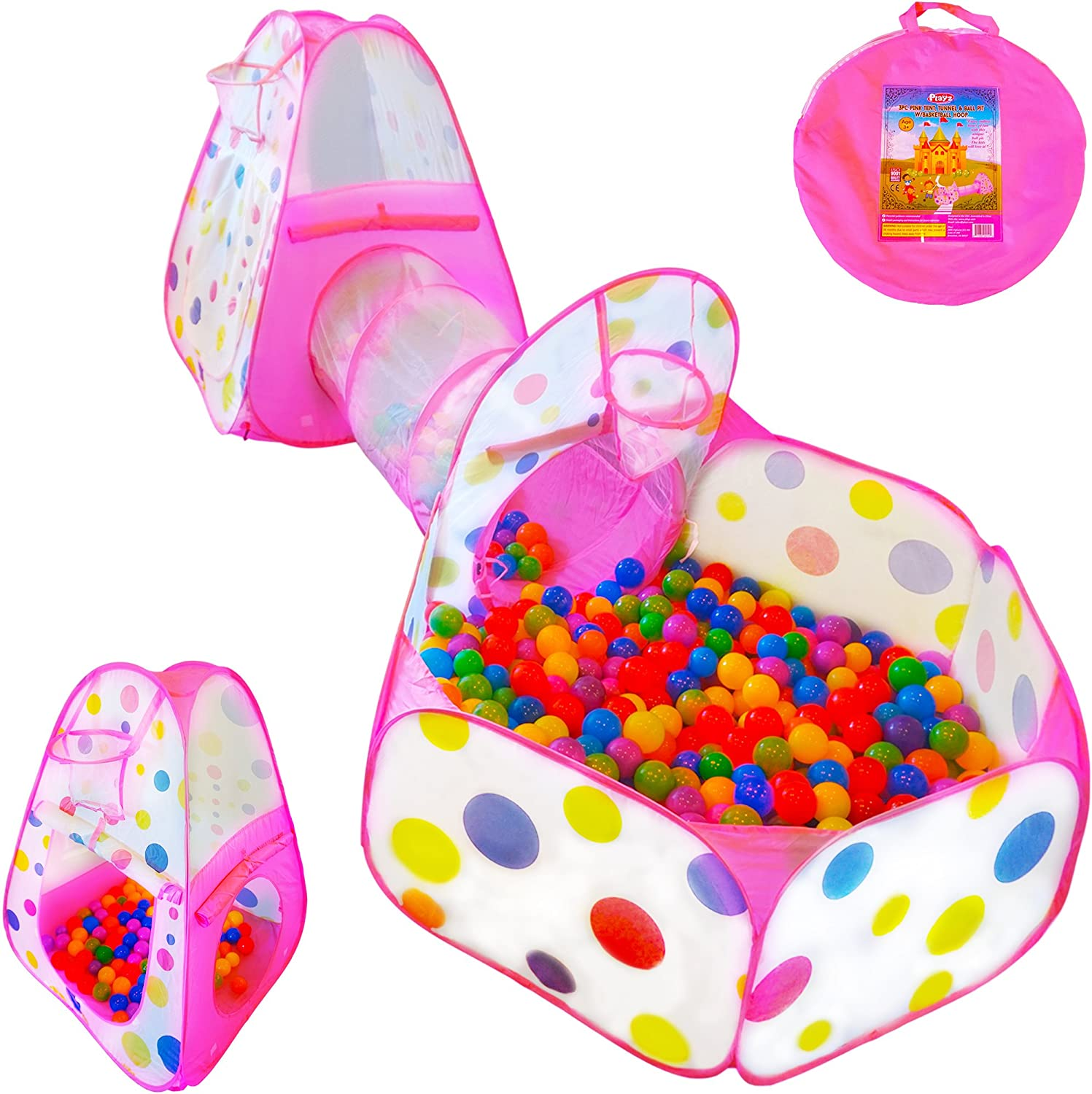 Playz 3pc Kids Play Tent Crawl Tunnel and Ball Pit Pop Up Playhouse Tent