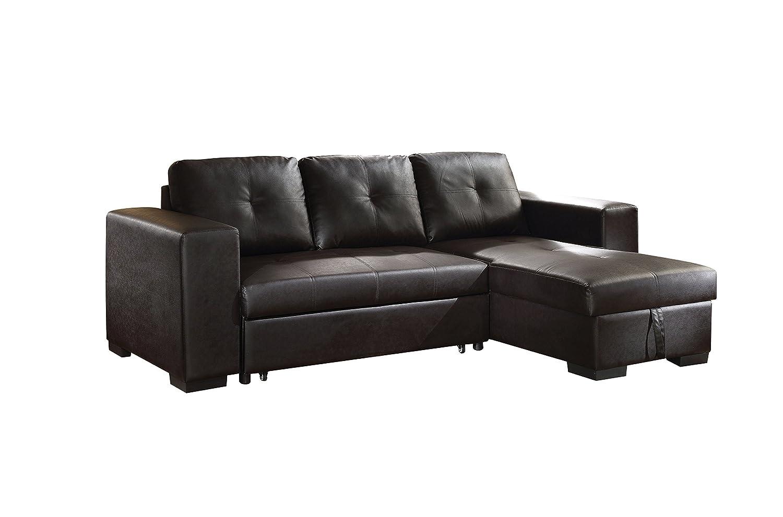 Magnificent Acme Lloyd Black Faux Leather Sectional Sofa With Sleeper Inzonedesignstudio Interior Chair Design Inzonedesignstudiocom