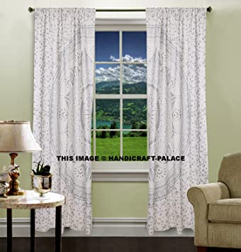 Silver Ombre Popular Mandala Tapestry Curtains Boho Drapes Window Treatment