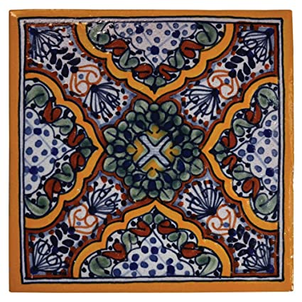 amazon com apricot hand painted talavera tile size 4 x 4 home