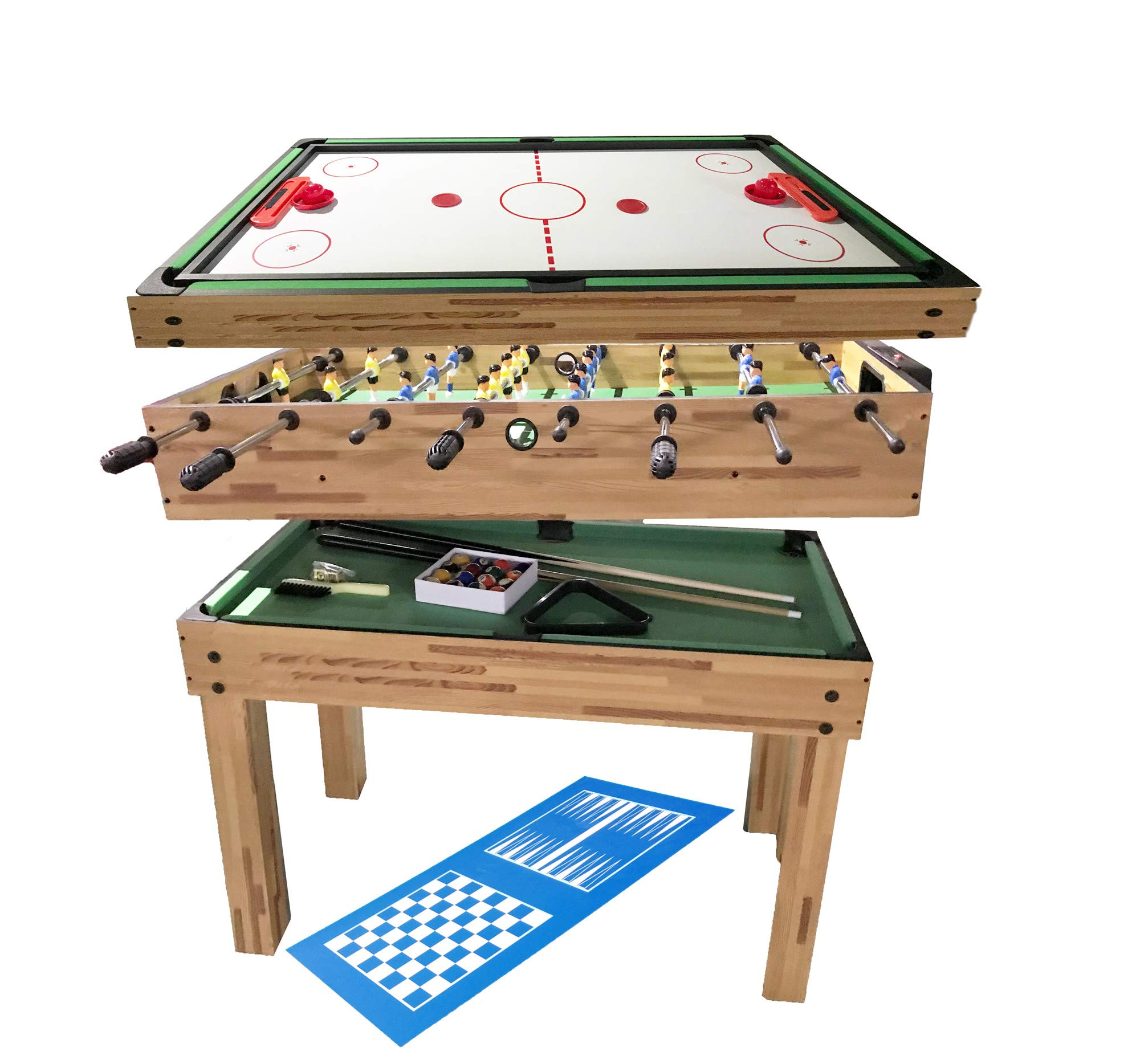 haxTON Game Table Combination Multi Game Table with 4 Games 4 in 1 Game Table Include Air Hockey Table, Pool Table Bowling Table and Foosball Table for Children and Adult Chess Exclude (4 in 1) by haxTON