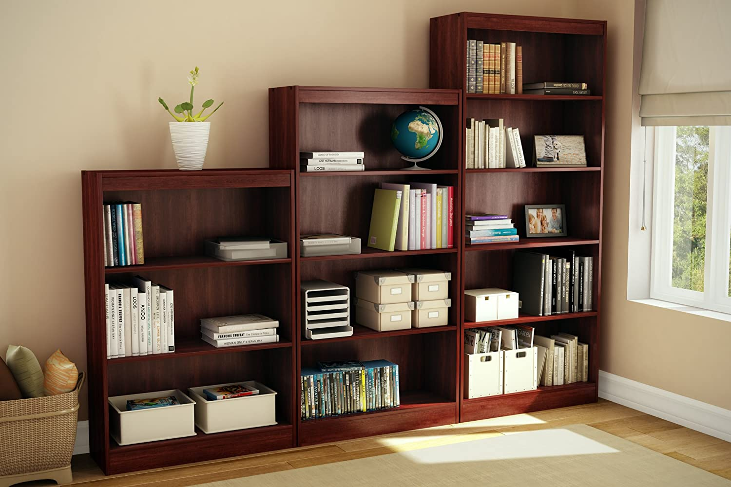 bookcase morgan cherry shelves thumbnail narrow shelf collection south shore bookcases storages axess