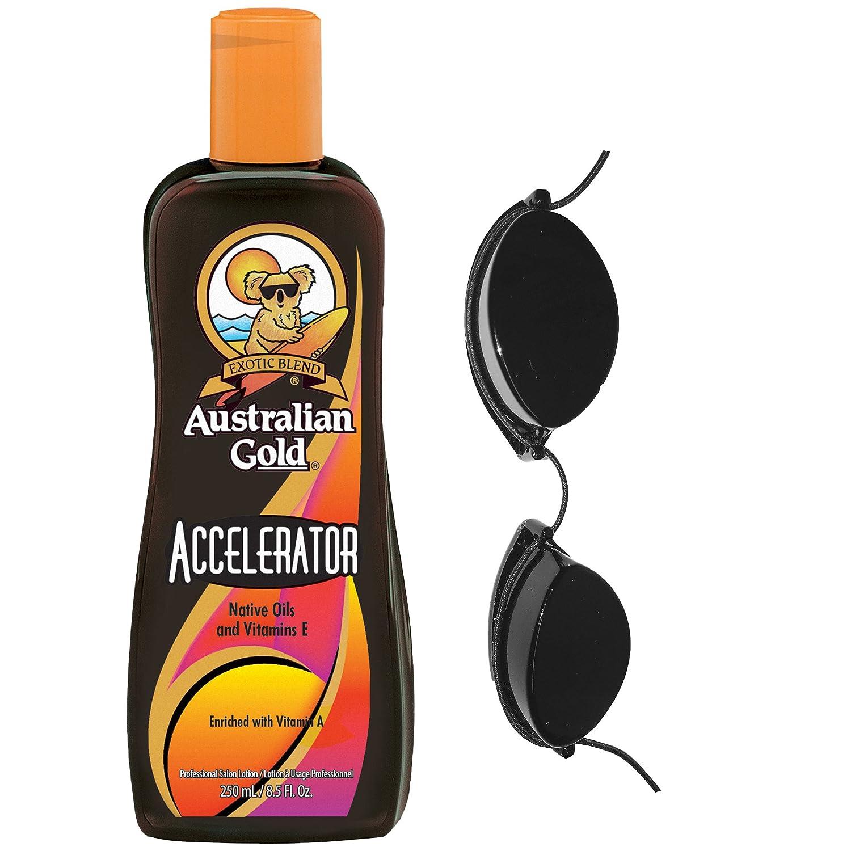 Australian Gold Dark Tanning Accelerator Lotion 250ml & Free Tanning Goggles