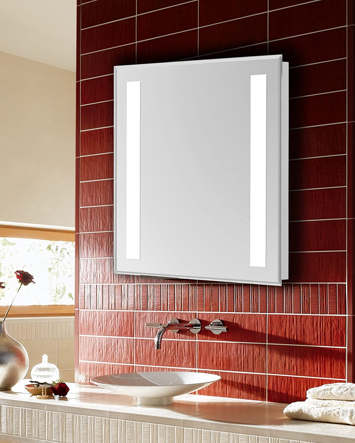 Decor Central ADEMIR-18909 Rectangle Steel Frame Hardwired Mirror 24 Glossy White Finish