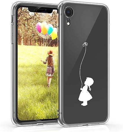 kwmobile Cover Compatibile con Apple iPhone XR - Custodia in Silicone TPU - Backcover Protettiva Cellulare Ragazza con Palloncino Bianco/Trasparente