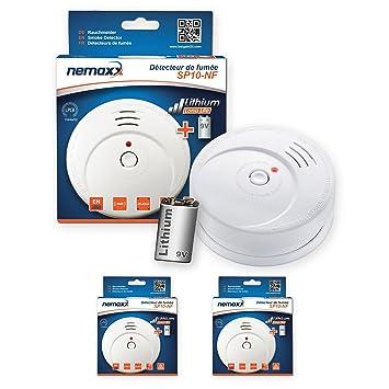 2X Nemaxx SP10-NF Detector de Humo - Pila de Litio Larga duración de 9V - DIN EN 14604: Amazon.es: Bricolaje y herramientas
