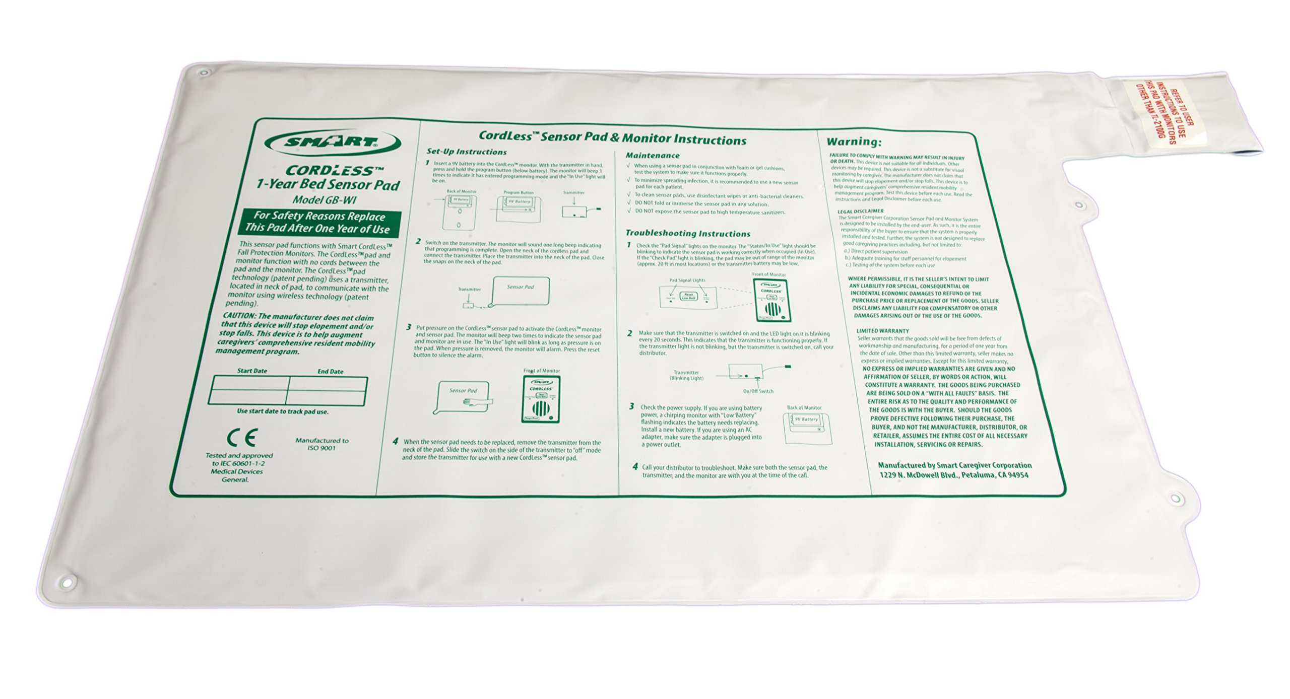 Replacement 20in x 30in Cordless Bed Sensor Pad by Smart Caregiver
