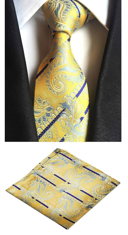 MOHSLEE Mens Dragon Striped Suit Tie Handky Woven Silk Necktie Pocket Square Set