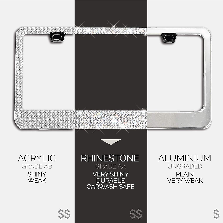 Slim Glass Diamond Rhinestone 2 Pack Handmade Glass Diamond Car License Plate Frame Sparkly Bling Chrome Rhinestone Stainless Steel Metal Frames For Women /& Men Cars Plates Glitter Crystal