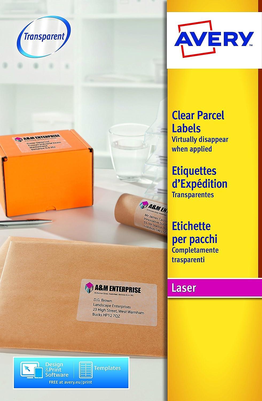 Avery España L7567-25.Caja de 25 etiquetas adhesivas transparentes ...