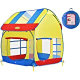 Big Children Playhouse Pop-Up Play Tent for Boys or Girls to Use Indoor or Outdoor with Stakes for Kids to Play House or Role Play with Friends, Lightweight, Portable, Includes Carry Bag WooHoo Toys