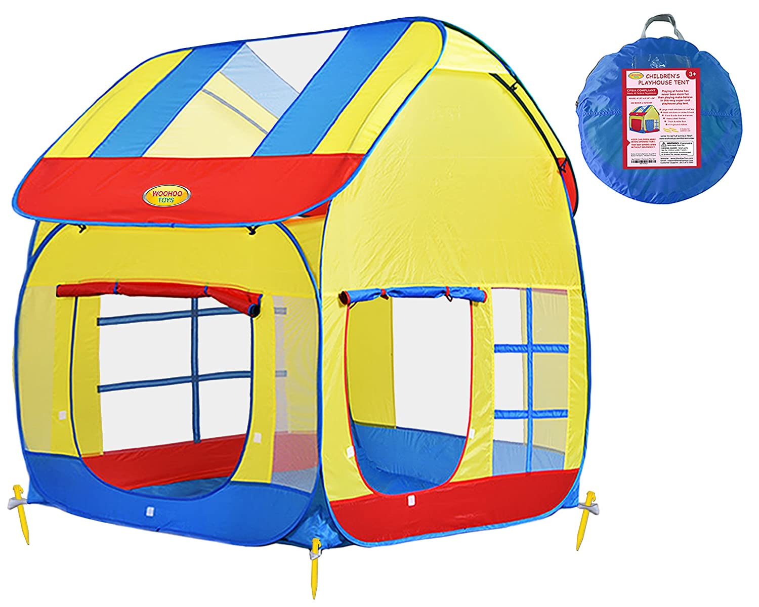 Amazon.com Big Children Playhouse Pop-Up Play Tent for Boys or Girls to Use Indoor or Outdoor with Stakes for Kids to Play House or Role Play with Friends ...  sc 1 st  Amazon.com & Amazon.com: Big Children Playhouse Pop-Up Play Tent for Boys or ...