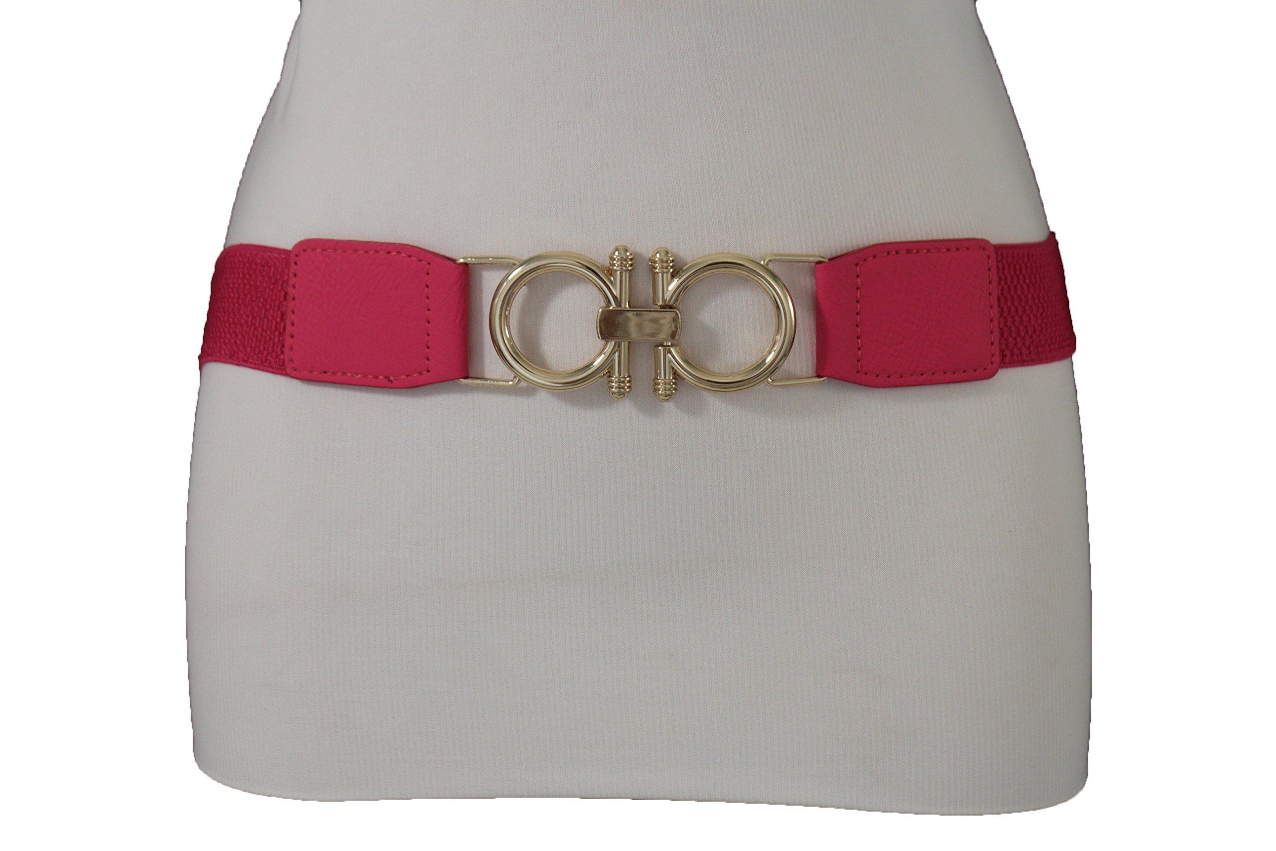 TFJ Women Elastic Fashion Belt Hip High Waist Gold Buckle Elastic Plus M L XL Pink